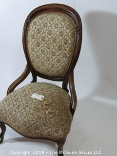 "Furniture: Vintage: Antique: Eastlake Carved Embroidered side Chair w/front casters; 22 1/2W x 19D x 37""T"