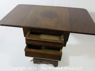 "Furniture: Vintage: Antique: Eastlake Pedestal Double Drop Leaf Gaming Table Folding top & 2-drawers; 18 1/2"" x 21 x 29 1/2""T"