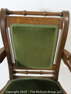 "Furniture: Vintage: Antique: Carved Sleigh-style Spindle Arm Chair w/ Green Velvet; 21 1/2""W x 18 1/2""D x 36""T"