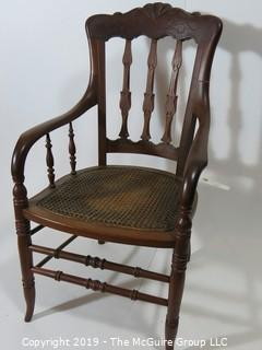 Furniture: Vintage: Antique: Cain Woven Arm Chair Spindle
