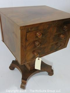 Furniture: Vintage: Antique: 3-drawer Pedestal Work Table with Quatrefoil Scrolled Feet; Bookmatched Veneers and Original pulls; (see all photos)