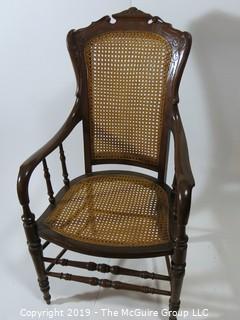 "Furniture: Vintage: Antique: Cane Woven Spindle Arm Chair; 2 1/2""W x 18 1/2""D x 42""T"