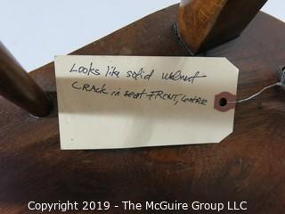 Furniture: Vintage: Antique: Walnut Spindle Arm Chair with Scrolled Arms; 22W x 19D x 45T (Note: Seat has crack)