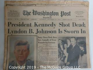 "Collectible: Historic: Newspaper: ""The Washington Post"" Nov 23, 1963"