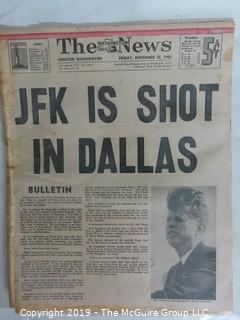 "Collectible: Historic: Newspaper:""The News- Washington Daily""; Nov. 22, 1963"