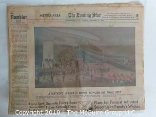 "Collectible: Historic: Newspaper: ""The Evening Star""; Nov. 25, 1963"