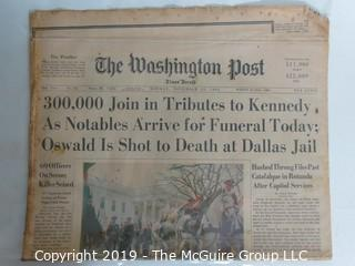 "Collectible: Historic: Newspaper: ""The Washington Post""; Nov. 25, 1963"