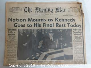"""Collectible: Historic: Newspaper: :""""The Evening Star""""; Nov. 25, 1963"""