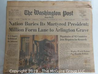 "Collectible: Historic: Newspaper: ""The Washington Post""; Nov. 26, 1963"