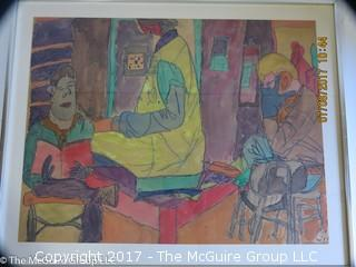 Original pastel work of art; framed; signed lower right; 20 1/4 x 22 3/4
