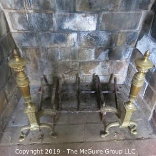 "Furniture: Vintage: Antique: Fireplace Items: Brass Andirons, Screen, Tool; 31W x 12D x 26 1/2""T"