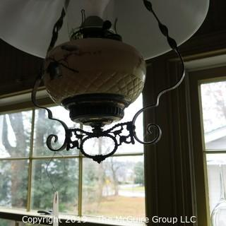 Lighting: Vintage: Electrified: Kerosene Lamp: Brass with Painted Milk Glass Base w/ white conical shade