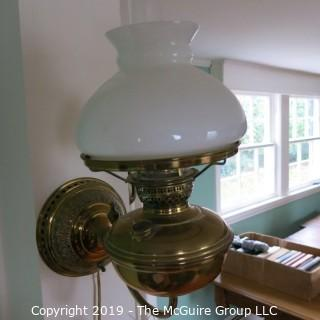 Lighting: Brass Wall Lamp: side-mounted curved white shade