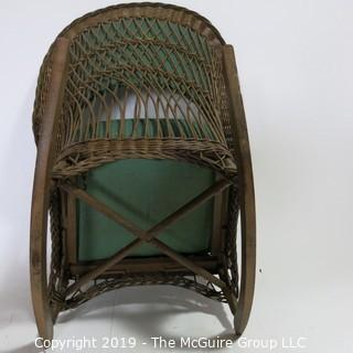 Furniture: Vintage: Antique:Wover Cane Rocker w/ Green Pads