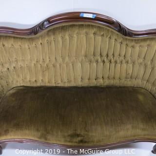 "Furniture: Vintage: Antique: Eastlake Carved Green Tufted Velvet Sofa Settee; 70W x 42T x 16"" Seat Height"
