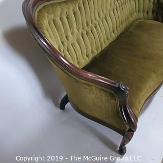 """Furniture: Vintage: Antique: Eastlake Carved Green Tufted Velvet Sofa Settee; 70W x 42T x 16"""" Seat Height"""