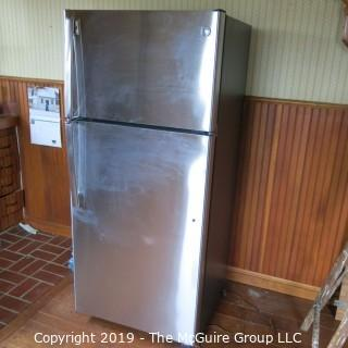 "Household: Appliance: GE Refrigerator/Freezer: Brushed Steel Surface 15.5 cu.ft.; 28W x 31D (including handle) x 64""T"