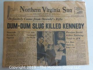 Collectible:Historical: Newspaper: Kennedy Assination: NVA Sun