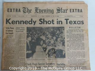 Collectible:Historical: Newspaper: Kennedy Assination: Evening Star EXTRA