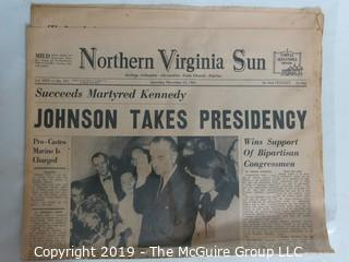 Collectible:Historical: Newspaper: Kennedy Assination: NVA Sun Johnson Takes Oath