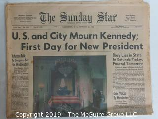 Collectible:Historical: Newspaper: Kennedy Assination: Sunday Star: Mourn President