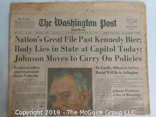 Collectible:Historical: Newspaper: Kennedy Assination:Washington Post 11/24/1963
