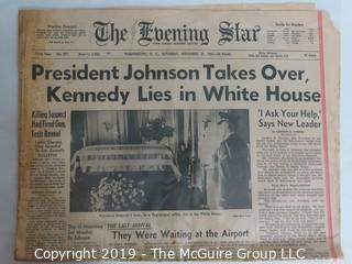 Collectible:Historical: Newspaper: Kennedy Assination: Evening Star 11/23/1963 Lie in State Cover