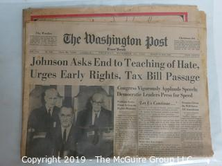 Collectible:Historical: Newspaper: Johnson Starts:Washington Post 11/24/1963
