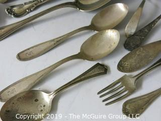 Collection of assorted sterling flatware pieces, various patterns, including Tiffany napkin ring; 618g