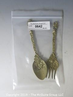 Collectible: Silver: Serving Fork and Spoon; bronze finish; Marked Italy