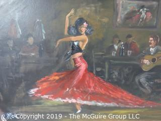 """Swirling Tango Dancer""; c 1910; framed Oil on Canvas, signed Rollen; 30 x 54"""