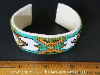 """Jewelry: Bracelet: 6.5"""" beaded, leather lined cuff bracelet"""