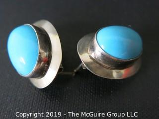 Jewelry: Sterling Silver: Earrings: with blue stone cabochons