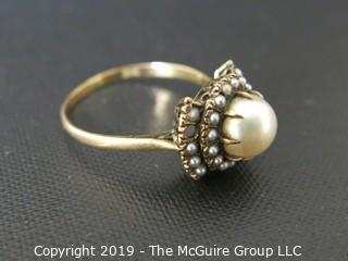Jewelry: Gold: Ring: 14kt pearl ring, size 6; center pearl with seed pearl border (2 missing)L 2 grams