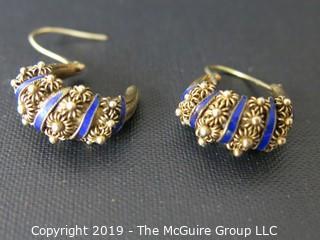 Jewelry: Silver: Earrings: Enamel and silver wire rope earrings; Bohemian Look