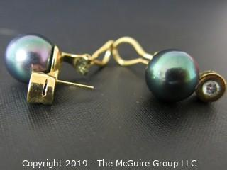 """Jewelry: Costume: Post Earrings: marked """"""""Mayorica TM""""; 3/4"""": 8mm faux pearls and rhinestone"""