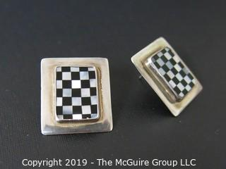 Jewelry: sterling: Post Earrings: Checkerboard motif (1 clutch back missing)