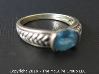 Jewelry: Ring: 925 Size 10 ring; braided design on shank with blue stone