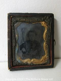 """Collectible: Vintage: Photo: Daguerreotype Photo of Young Child; unidentified; 2 3/8 x 3"""""""