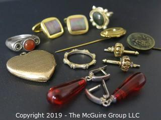 Jewelry: Collection of jewelry including earrings, cufflinks, stick pin, rings and locket