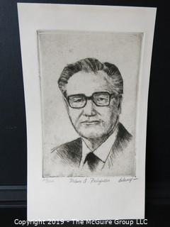 Art: Print: Numbered: Signed: of VP Nelson Rockefeller; image size 7 x 10""