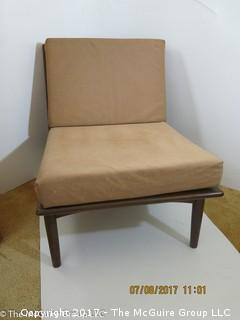 Pair of Mid-Century Modern Wooden Chairs; one with Foam cushions (one shows damaged seat straps) 22W x 28D x 25T (back height)