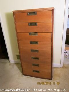 "8 drawer tall wooden dresser; 24W x 14D x 49""T"