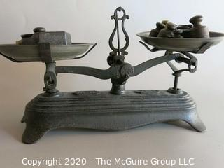 Cast Iron Balancing Scale with Weights
