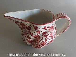 "Small Red and White Hand Painted Pitcher Italy Approx 5"" tall"