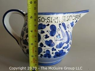 """Small Blue and White Hand Painted Pitcher Approx 5"""" tall"""