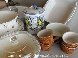 Group of Ceramic Cooking & Serving items including Villeroy & Boch & Corningware