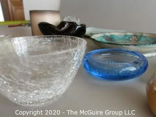 Lot of Small Bowls Dishes and Ashtrays, includes glass Flower Frog