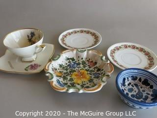 6 Pieces of Ceramic items including tea cup & saucer, plates and Italian painted bowls