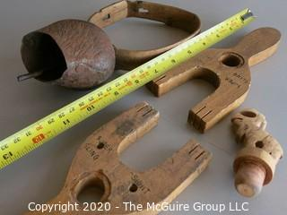 Collection if Treenware, including cow bell with wooden collar